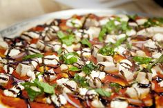 Aphrodite is coming back!!!!!! Roasted Red Pepper Pesto, Goat Cheese, Red Onion, Balsamic Glaze and Fresh Basil.