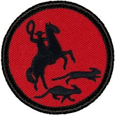 "Retro Red and Black Cat Herders Patrol Patch - 2"" Round"