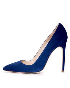 Classic style in navy.  When did Manolo start making such high heeled shoes?  Not that I'm complaining.  Manolo Blahnik BB Suede Pointed-Toe Pump - Neiman Marcus