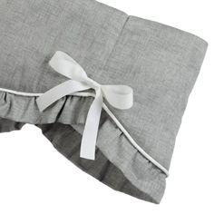 Gray Crosshatch Scalloped Crib Rail Cover with Ruffles   Liz And Roo Grey Crib, Crib Rail Cover, Grey And White, Gray, White Nursery, Crib Skirts, Convertible Crib, Minky Blanket, Grosgrain