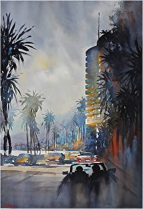 Pacific Coast Highway - Los Angeles by Thomas M. Schaller on Curiator, the world's biggest collaborative art collection. Watercolor Artists, Watercolor Artwork, Watercolor Techniques, Watercolor City, Watercolor Architecture, Watercolor Landscape, Art Thomas, Pacific Coast Highway, Artist Life