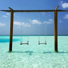 Awesome Places and Nature: Swings at Anantara Dhigu Hotel in Maldives Oh The Places You'll Go, Places To Travel, Travel Destinations, Places To Visit, Travel Tourism, Dream Vacations, Vacation Spots, Vacation Travel, Future Travel