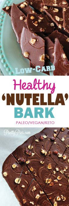 The classic hazelnut-chocolate flavor of Nutella (without any of the SUGAR or dairy!) in a crunchy munchy, low-carb snack. Healthy Nutella Bark!  #vegan #paleo #lowcarb #keto