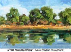 TREES, LAKE, PEACEFUL PLEIN AIR LANDSCAPE by TOM BROWN, painting by artist Tom Brown