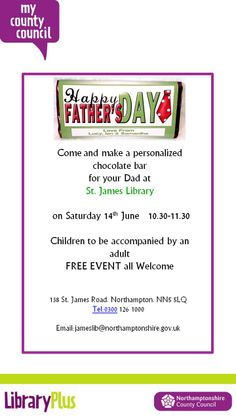 ST James Library: Make Dad a personalised chocolate bar for Father's Day Saturday 14th June