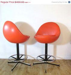 CIJ SALE Retro Orange Barstool Pair - Egg-Shaped Chair Bar Stools - Adjustable Vintage Mid-Century Leather