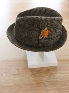 3f080ab9f53 Vintage Men s Tweed Fedora Hat 7 1 8 by foundundertheeaves