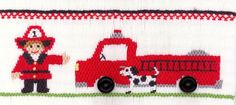 Smocking plate with a fire truck, fireman and Dalmatian dog. 8 rows of smocking on a yoke. Also available as a pleated insert kit: includes a pleated insert, smocking plate, and DMC embroidery floss expertly chosen for this design. Smocking Plates, Smocking Patterns, Afghan Patterns, Dmc Embroidery Floss, Silk Ribbon Embroidery, Embroidery Ideas, Hand Embroidery, Baby Sewing, Free Sewing