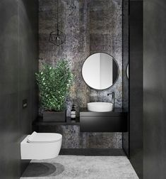 31 Inspiring Black Powder Room Design Ideas With Modern Style Powder Room Decor, Powder Room Design, Bad Inspiration, Bathroom Inspiration, Modern Bathroom Design, Bathroom Interior Design, Bathroom Designs, Modern Toilet Design, Master Bathrooms