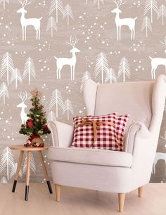 Create a cosy living room this Christmas with a beautiful, easily removable festive wall mural. Featuring a cute reindeer pattern, this stunning Chistmas wallpaper will transform your lounge this festive season. Prices shown are per square metre. Find more at Wallsauce.com