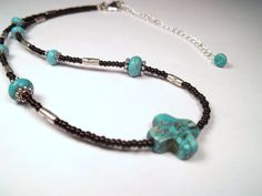 Delicate Silver Howlite Turquoise Cross Seed Beaded Layering Necklace by CarmenRVT on Etsy
