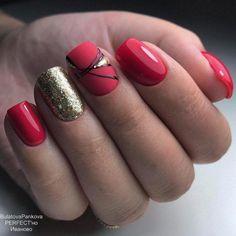 Chic Winter Nail Designs For Short Nails – Winter Nail Designs, Short Nail Designs, Nail Art Designs, Cute Nails, Pretty Nails, My Nails, Short Red Nails, Red Nail Art, Gel Nagel Design