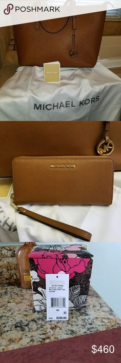 Mk Purse and Wallet BUNDLE Brand New, listed as a SET,...   ((INDIVIDUAL listings avail as well more details for purse and Wallet, ))  Need to sell bc it's a fabulous set that's a waste just sitting in dust bags...   Purse brand new 298 + TAX Wallet new 168+ TAX   SAVING YOU TAX AND SHIPPING!! GOD BLESS Michael Kors Bags