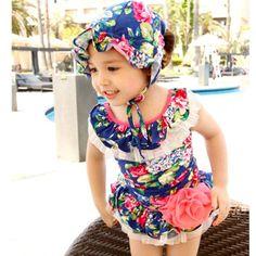 94095b2276148 Discount Hot 2015 New Kids One Piece Bathing Suit With A Big Flowers  Children Swimwear Korean Sweet Style Printing Girls Bikini Swimsuit 2 From  China