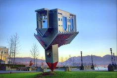"OK not actually a building but a statue. Still a rather unusual piece of architecture entitled ""Device to Root out Evil"" it's in Vancouver, Canada. Unusual Buildings, Famous Buildings, Interesting Buildings, Amazing Buildings, Amazing Houses, Upside Down House, Architecture Unique, Crazy Home, Fantasy House"