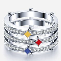 (Processing Time: 30 Working Days)Cool Pittsburgh Steeler CZ Inlaid 925 Sterling Silver Women And Men's Ring Steelers Rings, Pitsburgh Steelers, Pittsburgh Steelers Football, Steelers Stuff, Pittsburgh Sports, Football Stuff, Steeler Nation, Rings For Men, Processing Time