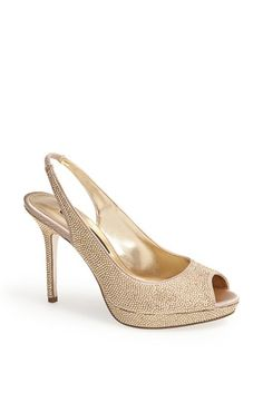 Free shipping and returns on Nina 'Fatime' Pump at Nordstrom.com. A peep-toe slingback goes glitzy with a veritable coating of faceted stones. The wrapped platform reduces the pitch so your steps are effortless and elegant, whether you're posing for pictures or dancing the evening away.