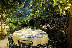 My husband and I dined alone in this lemon grove on Capri Italy