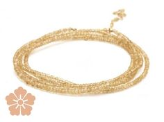 Anne Sportun 34″ citrine bead wrap bracelet with gold hex bead, clasp & tied extension