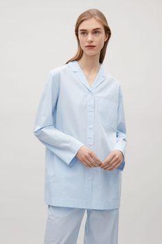 COS image 2 of Striped pyjama shirt in Light Blue