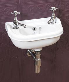 Silverdale's Victorian Micro Basin 400x215mm, available 1 or 2 tapholes, right and left handed, white or Old English white.