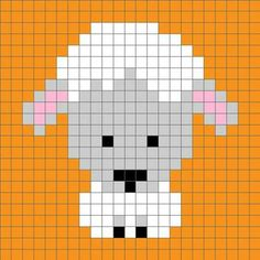 Zoodiacs Sheep Crochet Graph - One Dog Woof Sheep Cross Stitch, Cross Stitch Cards, Cross Stitch Animals, Cross Stitching, Cross Stitch Embroidery, Pixel Crochet, Crochet Chart, Knitting Charts, Baby Knitting