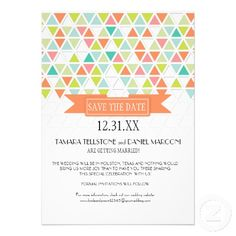 Mod Style Triangle Pattern Triangular Geometric Personalized Announcements #savethedate #modern #triangle #audreyjeanne