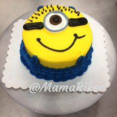 The best I could come up with out of a 5 inch double layer round, buttercream iced and decorated, for a dad who wanted a minion smash cake for his little girls first birthday. He loved it, so I was happy. :) Minion. Despicable Me. First birthday. Buttercream cake.
