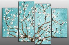 DUCK EGG BLUE BLOSSOM TREE FLORAL CANVAS PICTURE SPLIT MULTI 4 PANEL rdy to hang   eBay