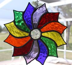 Rainbow Coloured Pinwheel Suncatcher by GleamingColours on Etsy, $40.00