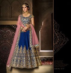 Largest selection of lehenga choli from popular indian online shops. This remarkable handloom silk lehenga choli for bridal, reception and wedding. Blue Lehenga, Silk Lehenga, Anarkali, Lengha Choli, Sabyasachi, Indian Dresses, Indian Outfits, Indian Clothes, Pakistani Dresses