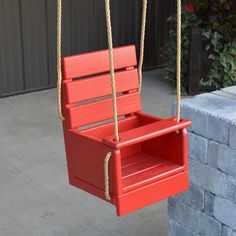 A & L Furniture Classic Baby Swing with Rope Included - Delight a special little somebody with the A & L Furniture Classic Baby Swing with Rope Included ! This classic chair-style wooden swing has a lap bar. Wooden Swing Chair, Wooden Swings, Swinging Chair, Wooden Baby Swing, Swing Chairs, Doll Furniture, Pallet Furniture, Kids Furniture, Diy Pallet Projects