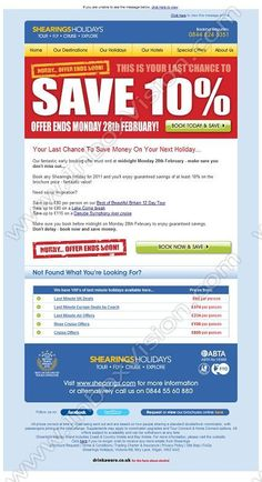 Company:    Shearings Holidays    Subject:    Fantastic savings on all summer holidays - last chance to book              INBOXVISION is a global database and email gallery of 1.5 million B2C and B2B promotional emails and newsletter templates, providing email design ideas and email marketing intelligence http://www.inboxvision.com/blog
