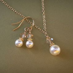 Bridesmaid jewelry set pearl necklace pearl by KGarnerDesigns, $35.00