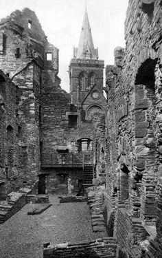 Old photograph of Bishop's Palace in Kirkwall ,Orkney, Scotland