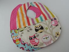 Two multicolor quilted reversible baby girl bibs by ArtfullyJoyful, $16.00