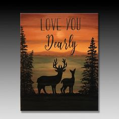 Excited to share this item from my shop: Deer Painting Deers Art Deer Prints Wood Panels Wood Boards Wood Planks Love You Dearly Signs Wood Signs Quotes Emily Terrell Easy Canvas Art, Simple Canvas Paintings, Small Canvas Art, Cute Paintings, Easy Canvas Painting, Painting & Drawing, Deer Paintings, Love Painting, Wood Plank Art