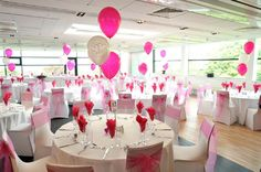 Multi-Colored White, Pink and Silver Balloon Wedding Centerpiece