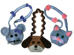 Three cute little purses!!! A puppy, a mouse and a cat purse. All made from worsted weight yarn, the cat and mouse straps are decorated with bows and flowers. These will make darling little gifts for a special little girl and will be great sellers at a craft fair!!!!Skill Level: IntermediateCrochet Village PatternThis pattern is not available f