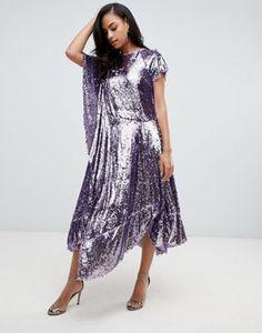 29fa69a129 ASOS EDITION drape sequin dress with asymmetric hem Holiday Looks