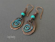 Wire Wrapped Earrings, Copper Earrings, Copper Jewelry, Boho Earrings, Etsy Earrings, Jewlery, Metal Jewelry Handmade, Handmade Copper, Artisan Jewelry