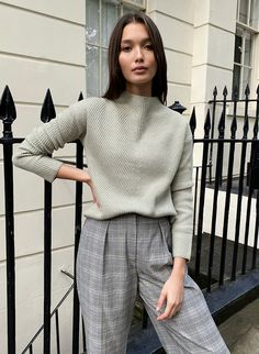 CHALMERS SWEATER - Mock-neck sweater Blouse And Skirt, Blouse Dress, Winter Office Outfit, Slip Skirts, Knitted Tank Top, Work Wardrobe, Sweater Fashion, Wool Coat, Wool Sweaters