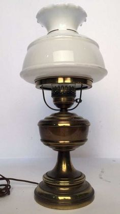 1410a antique brass kerosene lamp milk glass shade f lot 1410a opaque glass shade with metal lantern base mozeypictures Choice Image