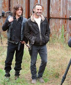 Andrew Lincoln & Norman Reedus on the set of their photoshoot with TV Guide Magazine