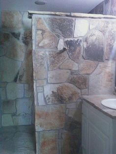 Rock Shower Bathroom Ideas, Shower Ideas, Rock Shower, Gabion Wall, Stone Bathroom, Rustic Bathrooms, Cabin Homes, Corner Bathtub, Dream Homes