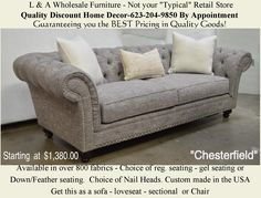 """The """"Chesterfield"""". Available as a Sofa, Loveseat, Chair, King Chair or Sectional. Over 800 fabric options. Home Furnishing Accessories, Home Furnishings, Furniture Making, Home Furniture, Fairmont Designs, King Chair, Aspen House, Discount Home Decor, Parker House"""