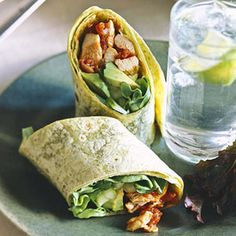 Make these hearty wraps for sack lunches or picnics. Lettuce, avocado, and cucumber freshen the taste of the Mexican-sauced chicken.