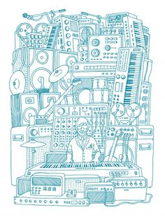"""Stack Of Gear"" « kreatif ini ide sketsa nya. Musik Illustration, Graphic Design Illustration, Graphic Art, Arte Hip Hop, Affordable Art, Doodle Art, Coloring Pages, Coloring Sheets, Adult Coloring"