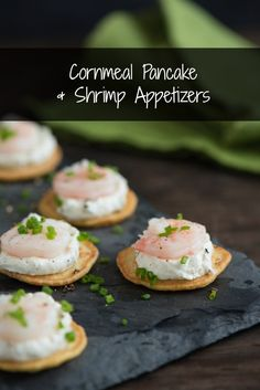 Cornmeal Pancake & Shrimp Appetizers - Elegant and delicious chilled appetizers, perfect for a special party! Mini cornmeal pancakes are topped with dill-horseradish cream and poached shrimp. | foxeslovelemons.com @foxeslovelemons