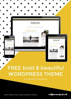 FREE Bold & beautiful responsive Genesis child theme 'Foxglove' for WordPress.